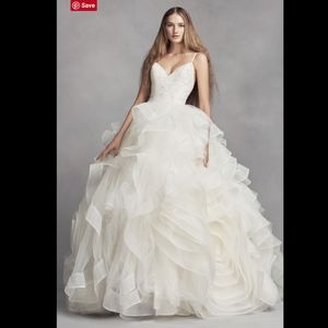 White VERA WANG Organza Rosette Wedding Dress 4